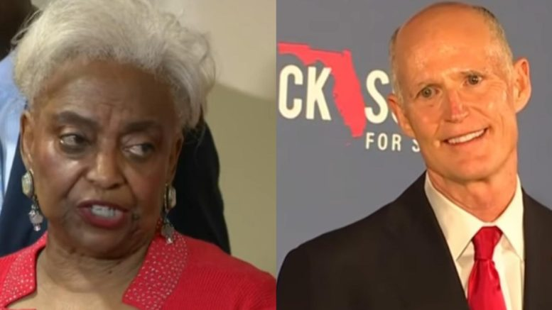 Brenda Snipes rescinds her resignation on the heels of being suspended by Governor Rick Scott. Photo credit to Freedom Times with CBS Screen Shot, PBS Screen Shot.