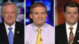 Meadows, Jordan and Gaetz join Judge Jeanine Pirro on Fox News. Photo credit to The Freedom Times compilation with screen shots.