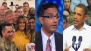 """Dinesh D'Souza roasts Obama and compares his Military """"photo ops"""" to President Trump. Photo credit to The Freedom Times compilation with screen shots."""