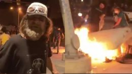 Homeless Veteran, Rioters